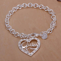 Free Shipping Wholesale 925 Silver Plated Plated bracelet, 925 Silver Plated Plated fashion jewelry GU Peach Heart Bracelet H225