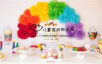 Fashion decoration paper flower dessert table rainbow color set