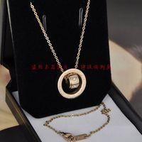 Fashion classic 14K rose gold titanium artificial diamond necklace short
