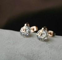 Fashion artificial diamond stud earrings in 14k Rose Gold