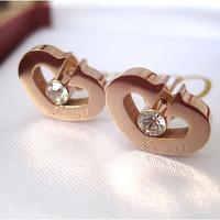 Fashion 14K rose gold earrings