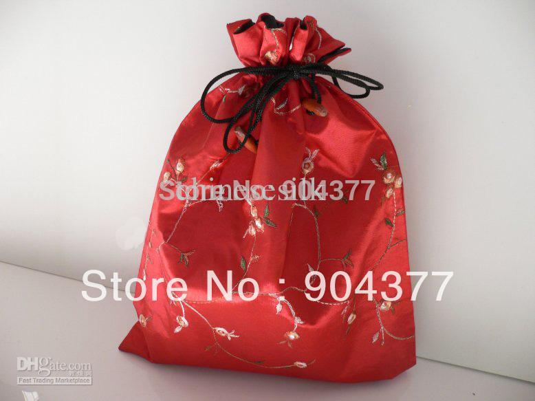 Embroidered Shoe Bags Silk Drawstring Double Layer 30pcs/pack Mix Color 14.5*11 inch(China (Mainland))