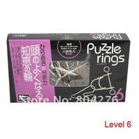 Free Shipping Metal Ring Puzzle IQ Brain Teaser Test Toy Gift Educational Toy, 6 levels for choice