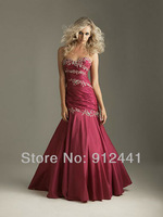 New Fashion Mermaid Embroideried Sweetheart Off the Shoulder Sleeveless Pleated Taffeta Women Evening Dress ENS6+Free Shipping