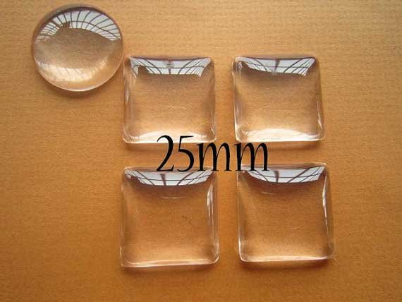 100 Clear Square Cabochon Glass Dome Tile Seals 25mm For Photo Craft Jewelry Make/Free shipping(China (Mainland))