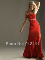 Hot 2013 Sexy Sheath Strapless One Shoulder Sleeveless Sequined Pleated Satin Women Evening Gown Ladies Dress ENS9+Free Shipping