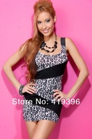 2013 New Design CL17774 Free Shipping Double Spaghetti Strap Bodycon Sexy Party Dress Unique Design Sexy Leopard Mini Dress