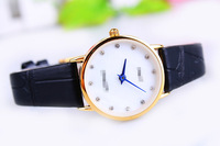 F04895 Stylish Ultrathin PU Leather Rhinestone Wrist Watch Bracelet Best Gift For Girlfriend Lady Female + Free Shipping