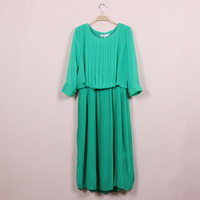 2013 lily . y spring and summer new arrival women's o-neck accordion pleated skirt elastic waist chiffon one-piece dress