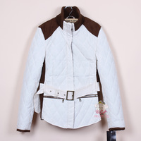 women's 2012 patchwork slim stand collar belt wadded jacket outerwear