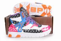 Free Shipping Korea SPX 2NE1 Endorsement High Cut Women Sneakers High Platform Flat Shoes Hip Hop Dancing Shoes Pink+Blue