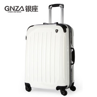 TOP QUALITY Glossy white aluminum frame luggage trolley draw bar spinning wheels men luggage & travel bags- 20'' 24'' 28''