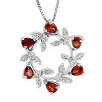 Natural Semi-precious Stone 925 sterling silver Olive Crown Red Garnet Pendant necklace Birthstone fashion Jewelry Gift sp0376g