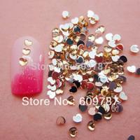 Free Shipping 10000pcs/lot Yellow 2.5mm Flatback heart nail art Rhinestone stone decorations