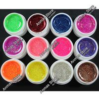 Free Shipping 12 Color Glitter UV Gel  Builder False Tips Acrylic Nail Art Polish Kit Set