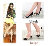wholesale retail princess bowknot women's low-heeled 4.5cm shoes sexy Fine kitten heels wedding party etc multi color