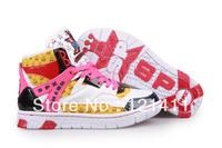 Free Shipping Korea SPX 2NE1 Endorsement High Cut Women Sneakers High Platform Flat Shoes Hip Hop Dancing Shoes Pink+Yellow