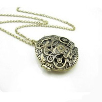 0291''Europe and the United States popular wind time train retro Long Necklace