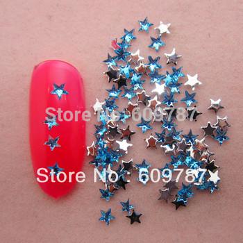 Free Shipping 10000pcs/lot Blue Flatback star nail art Rhinestone stone decorations
