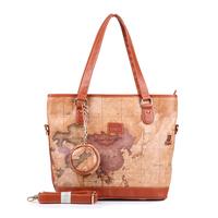 Free shipping 2014 B.angel all-match fashion vintage map large capacity women's handbag 795