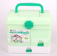 Family health kits drug box Multifunctional medicine chest   Light green