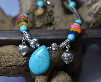 Designed Folk Style Handmade Bohemian Turquoise Stone Beads Ankle Bracelet 283