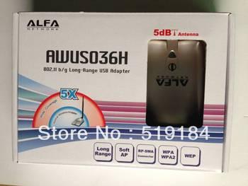 Free shipping High power ALFA AWUS036H 1000mw wifi usb adapter 5db antenna Realtek8187L Chipset x5
