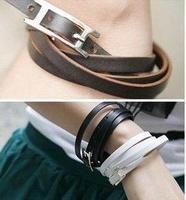 D016 Fashion Jewelry Punk Women Men Weave PU Leather Belt Buckle Charm Bracelets