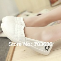 Free shopping 2013 spring and summer women's  white breathable canvas shoes female low single shoes flat casual