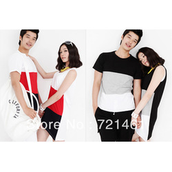 The new 2013 summer short-sleeved T-shirt, shorts couple of black and red color code package(China (Mainland))
