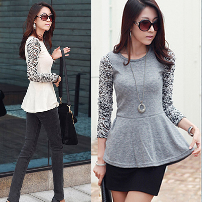 New Fashion Women Lady Slim T-Shirt Splicing Lace Long Sleeve Crew Neck Tee Tops Blouses for Women , Free Shipping Dropshipping(China (Mainland))