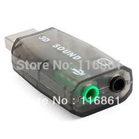 50PCS EMS Free shipping USB 2.0 Virtual 3D Audio Sound Card (5.1ch, Gray)