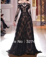 2013 Hot Sale Cutom Made Elegent Zuhair Murad Dresses For Sale Off The Shoulder Black Lace Long Sleeve Prom Evening Dresses