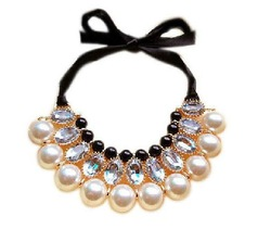 free shipping drop ship 2013 new designs costume necklace fashion pearls jewelry necklace ribbon jewelry(China (Mainland))