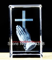 Free shipping religious 3D cross laser engraved crystal