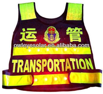 LED Reflective Vest /safey vest with LED/ lighting vests for police