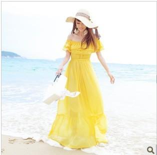 2014 Summer high quality  chiffon Bohemian dress, beach dress, Fashion floor-length dress  for women large size