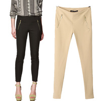 Hot selling 2013 new spring Female fashion vintage slim double zipper pocket thickening skinny pants pencil pants