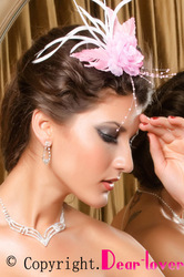 Pink Flower Brooch N Hair Clip With Feather LC73024 Cheap price Drop Shipping(China (Mainland))