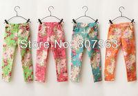 New Fashion kid's Summer pants, 4colors Girls floral pants, jeans pant for girl Infant Garmemt