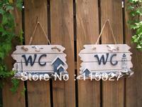 Blue Ocean Mediterranean Sea style wooden information board WC guide board house or garden decoration