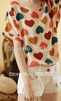 Free shipping Fashion colorful love loose chiffon T-shirt (peach heart short sleeve