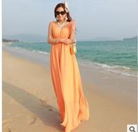 2014  Summer European high quality  chiffon Bohemian dress, deep V-Neck beach dress, Fashion floor-length dress  for women