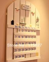 Blue Ocean Mediterranean Sea style wooden information board permanent calendar house or shop decoration