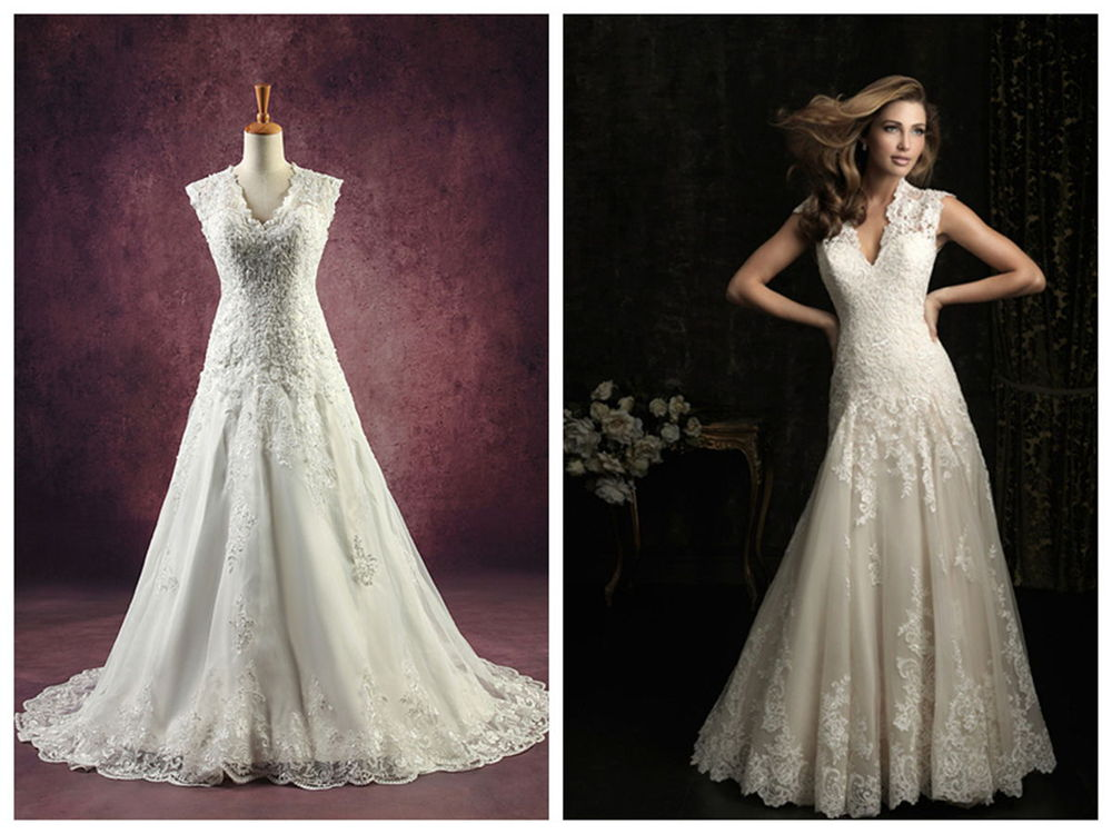 Vintage Inspired Scallop V Neck Lace Embroidered Net Sleeveless Wedding Dress with Keyhole Back Beach Bridal Gown Style 8965(China (Mainland))