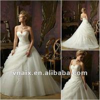 W0157 2012 Ball Gown Sweetheart Organza Elegant Wedding Dress