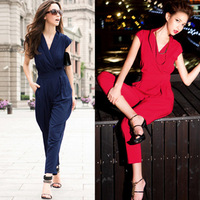 Free shipping Women 2014 Summer Slim Fashion Rompers, long Jumpsuits , Fashion Bodysuits 3 Colors black/red/deep blue Big size