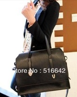 Black bags women's handbag big bag 2013 fashion preppy style handbag one shoulder cross-body motorcycle free shipping