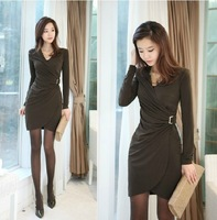 Free Shipping! 2014 new arrive Long-sleeve slim hip elegant women's  one-piece dress