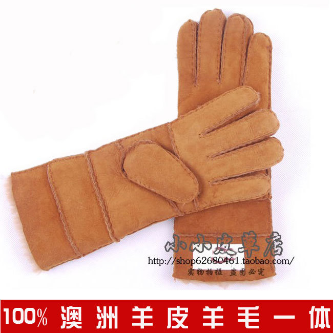 Quality women's genuine leather gloves wool and fur in one gloves thickening thermal gloves(China (Mainland))